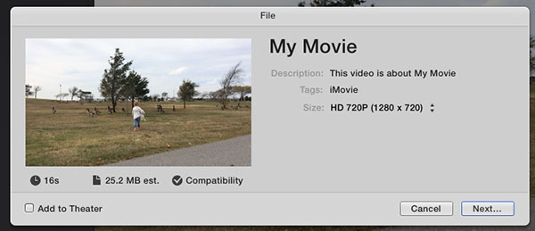 Exported video