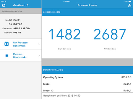 Geekbench iPad Air