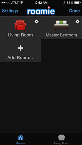 Roomie Remote add room