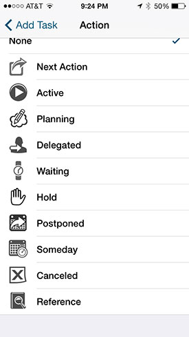 Task options Pocket Informant