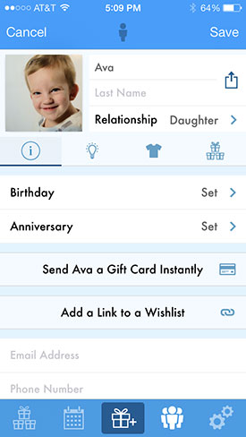 When You Select A Person Can Add The Gift Icon To Your List Here Store Quantity Price And Picture