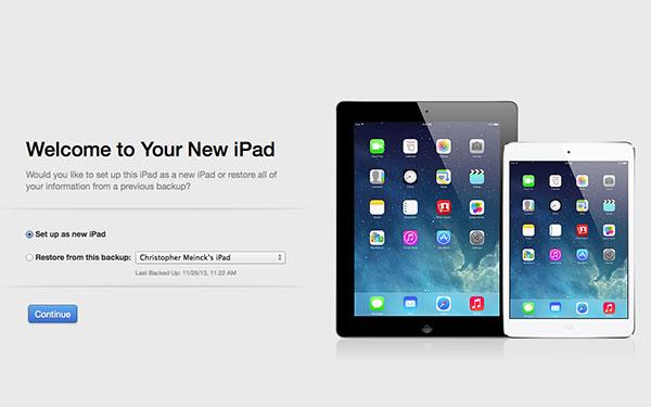 Setup as new iPad