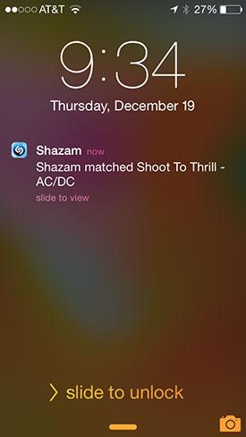 Shazam lock screen