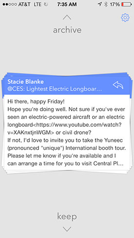 Triage email for iPhone