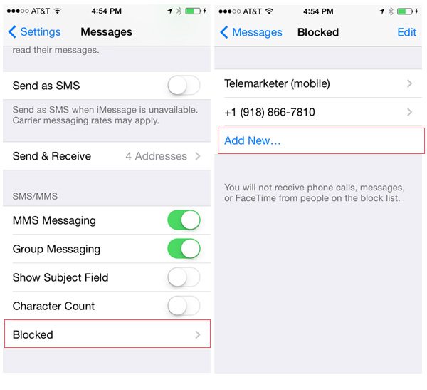 Block texts iOS 7