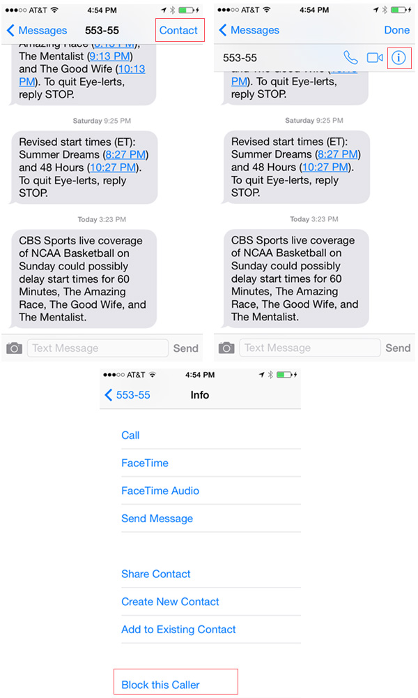 Block unwanted text messages