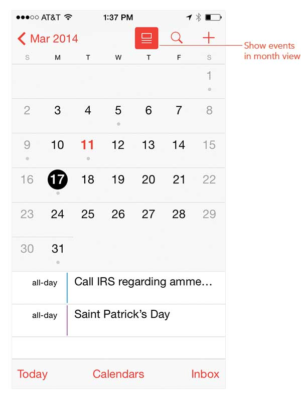 How to display events in month view using the Calendar app in iOS 7.1