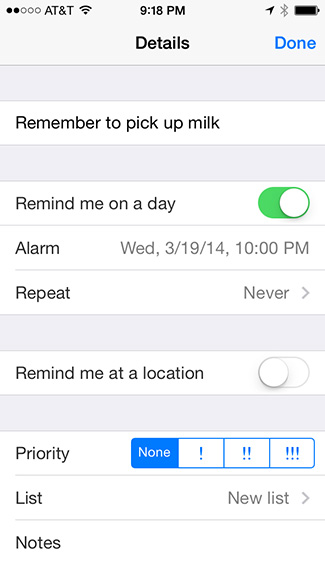 Reminders time notify