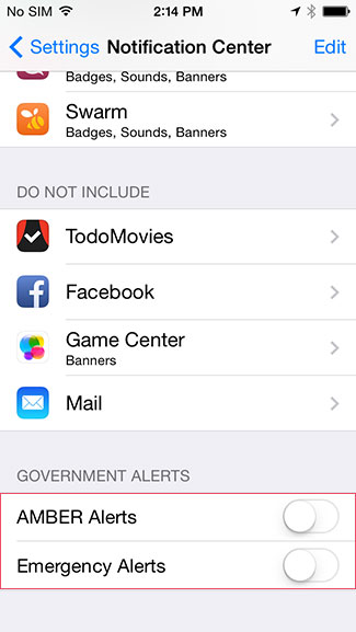 Disable amber, emergency alerts on iPhone