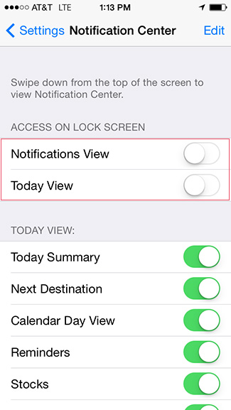 Disable lock screen notifications