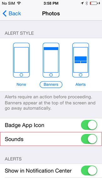 Enable alert sounds iOS