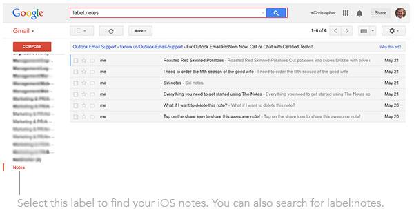 Gmail notes sync iOS