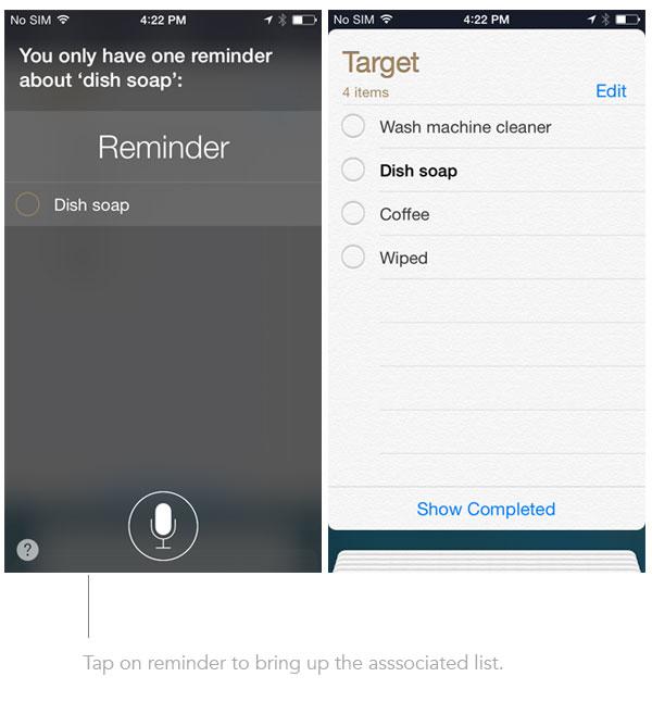 Siri find reminders list
