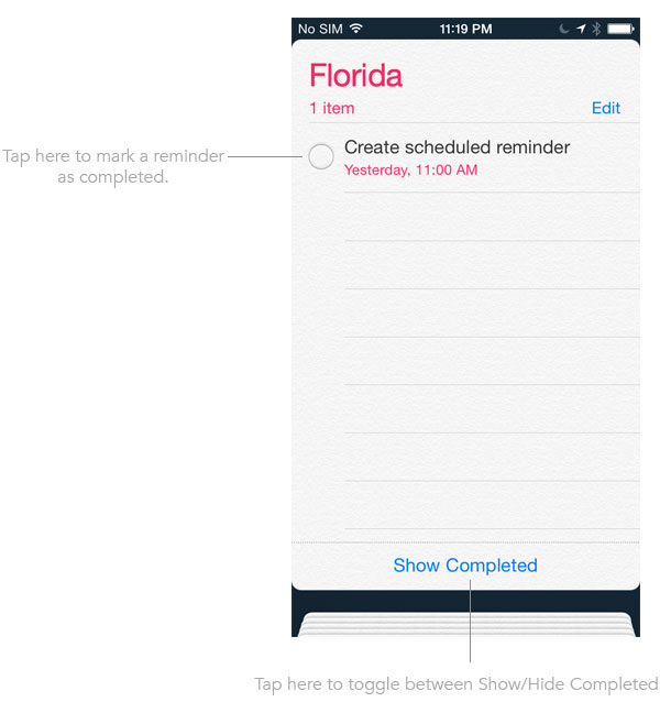mark reminders as completed on iPhone