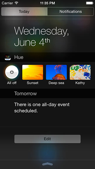 Philips Hue Widget Concept Shows Access From Notification Center