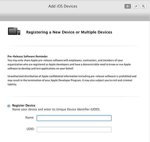 Register new iOS device