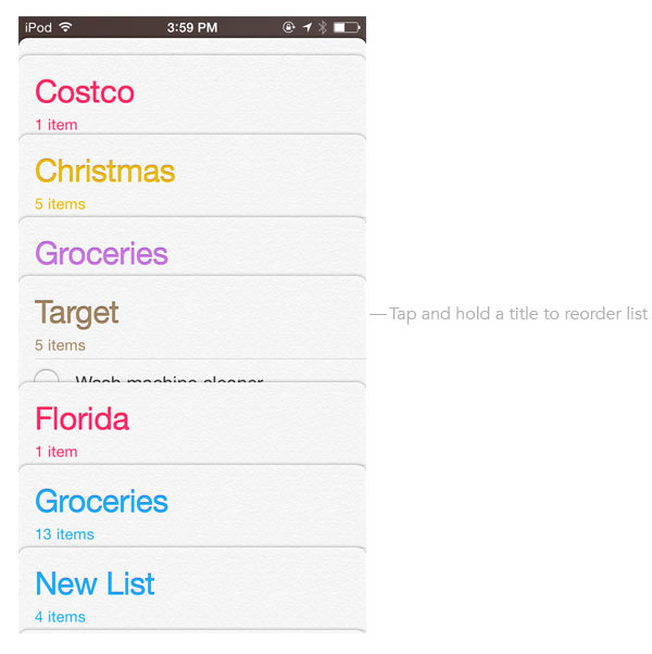 Reorder lists in iOS 7