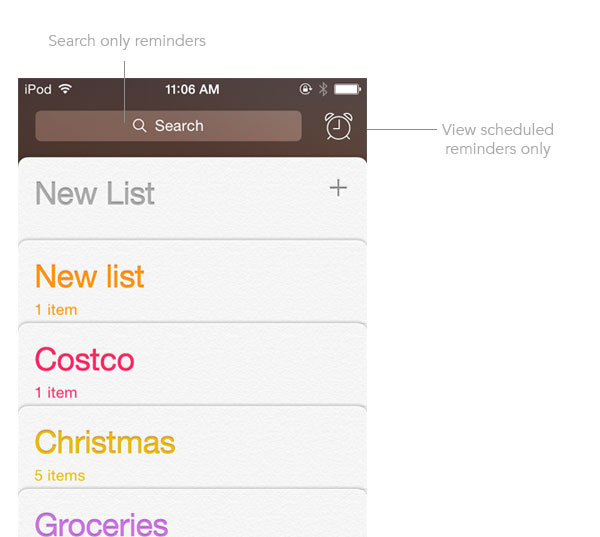 Search, view reminders