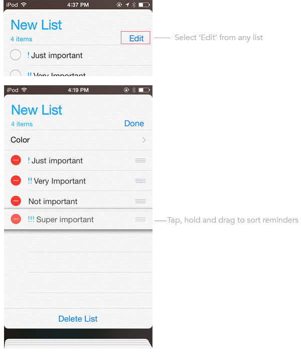 Sort reminders on iPhone