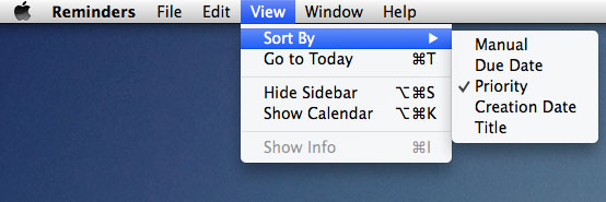 Sort Reminders by Priority on Mac