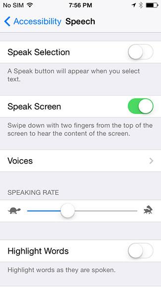 Speak Screen iOS 8