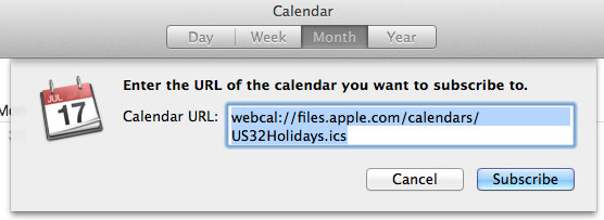 Add holidays Mac