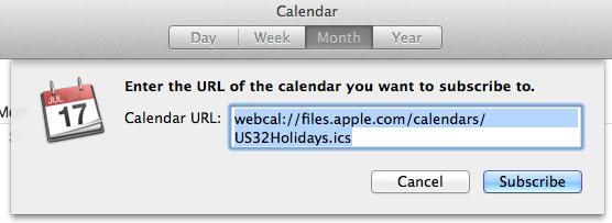Add holidays Mac