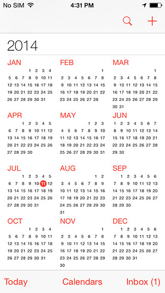 Year Calendar App : How to switch calendar view on ios