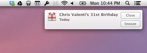 Birthday notification on Mac