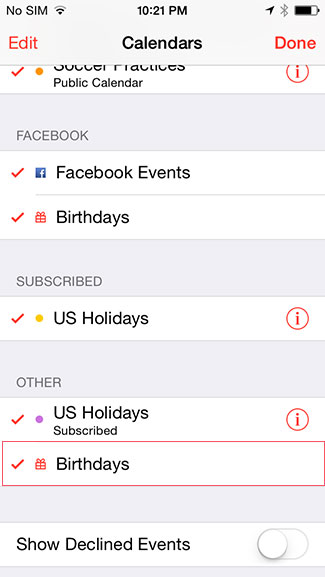 Show calendars iPad