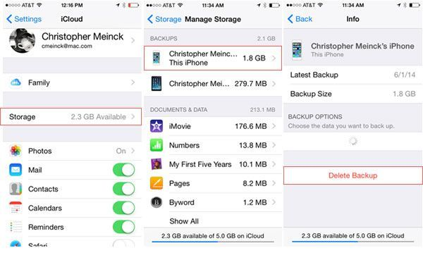 how to find storage on ios