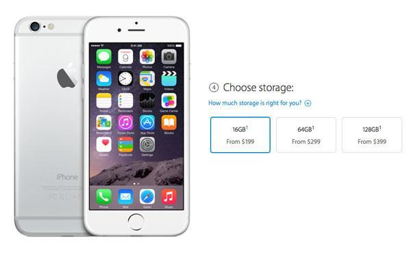 iPhone 6 storage capacity
