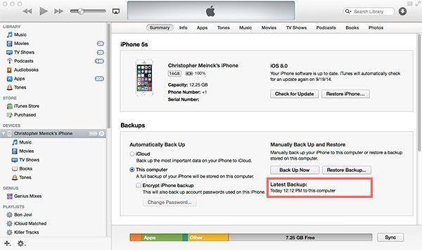 iTunes last backup