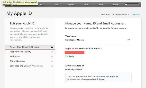 Apple ID Password and Security