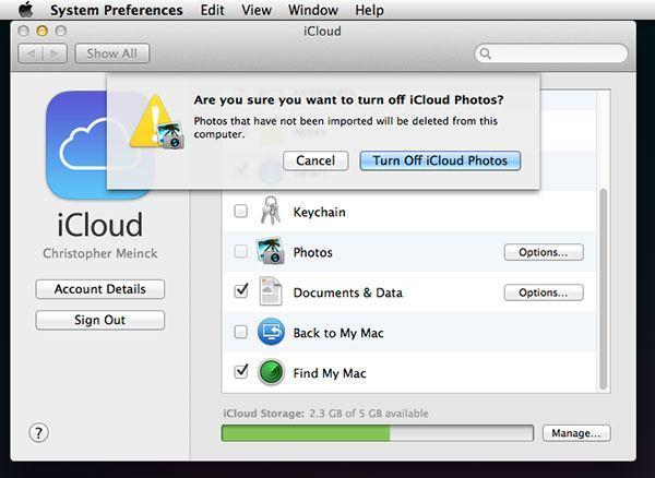 Turn off iCloud photos Mac