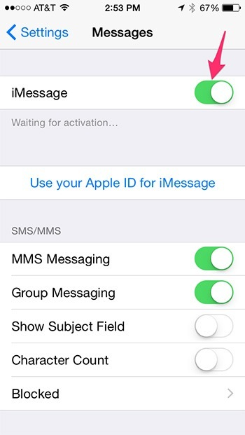 iMessage enabled
