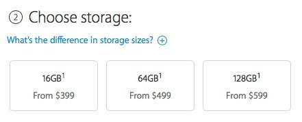 Storage capacity iPad
