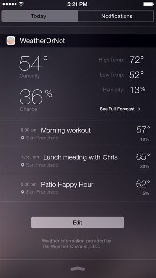 Weather or Not widget