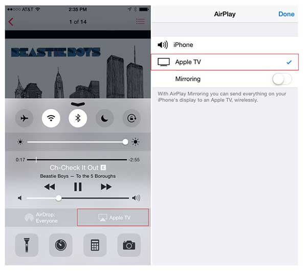 AirPlay enabled on iPhone