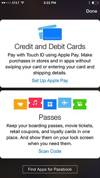 Passbook Setup Apple Pay