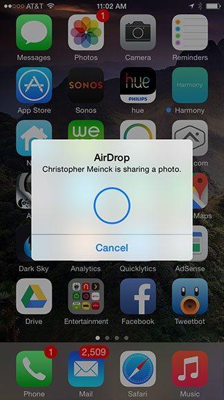 AirDrop receipt