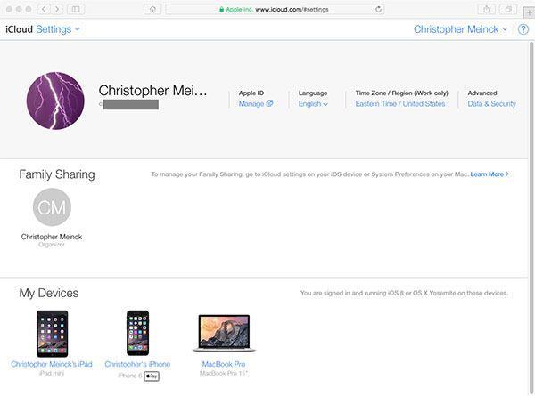 iCloud settings online