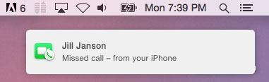 Missed call on Mac