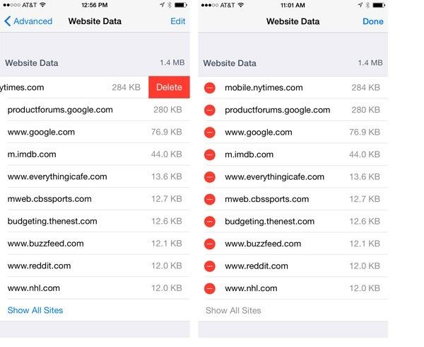 Delete individual site