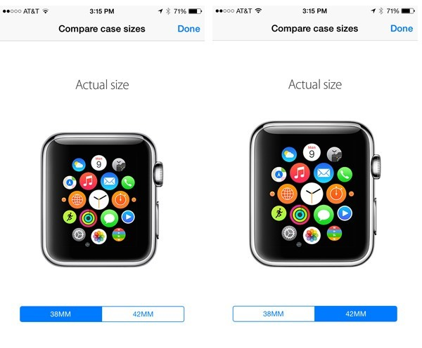 Compare Apple Watch sizes