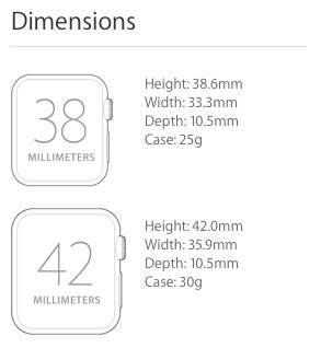 Apple Watch Sport dimensions