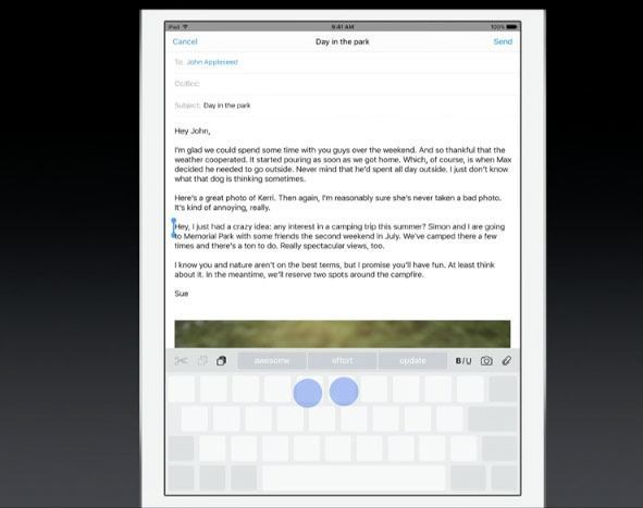iPad QuickType keyboard trackpad