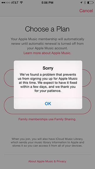 can't subscribe to Apple Music